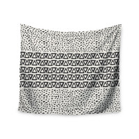 """Pom Graphic Design """"Wind Day"""" White Black Wall Tapestry"""