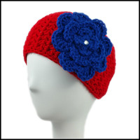 Red Earwarmer with Royal Blue Flower