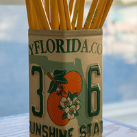 Florida License Plate Pencil Holder - Pencil Cup - Pen Holder - Desk Organizer - Desk Accessories - Office Decor - New Job Gift - Pen Cup