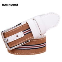 [DANNUOSI]2016 new high-quality pin buckle leather belt women's new striped canvas belt  women's jeans brand belt