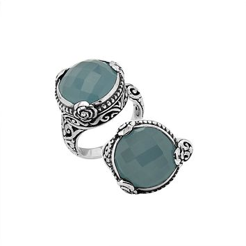 "AR-6278-CH.B-9"" Sterling Silver Ring With Blue Chalcedony Q."
