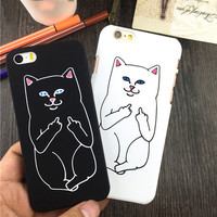 LOVECOM New Arrival Deversity Lively RIPNDIP Cat Animal Scrub Hard Thin Phone Cases For iPhone 5 5S SE 6 6S Plus 7 7Plus