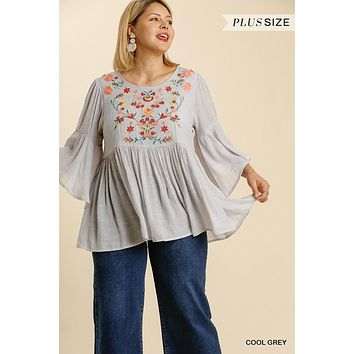 Umgee Plus Size Floral Embroidered Bell Sleve Babydoll Tunic Top