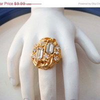 Spring Fashion Sale Vintage Adjustable Gold Toned Ring with Rhinestones