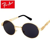 Pro Acme Luxury Metal Sunglasses Men Round Sunglass Steampunk Coating Glasses Vintage Retro Lentes Oculos of Male CC0472