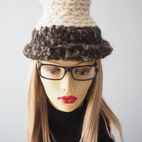 tall white hand knit cloche / brown roll brim bucket hat / crocheted brown and white hat / teen girl hat / winter womans hat / one of a kind