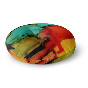 "Abstract Anarchy Design ""Caldera #1"" Teal Red Round Floor Pillow"