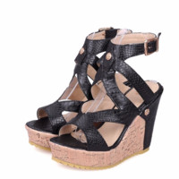 Trendy Buckle Strap Open Toe Wedges