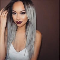 Long Brown To Grey Ombre Wig