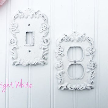 Choose Your Color - Single Switch Plate or Outlet Cover - Cottage Chic Switchplate - Light Cover - Outlet Cover - Outlet Plate