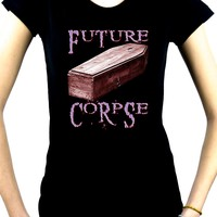 Future Corpse w/ Coffin Women's Babydoll Shirt Dark Gothic Clothing