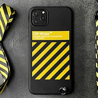 Off White Fashion New Letter Stripe Lanyard Protective Cover Phone Case  Black