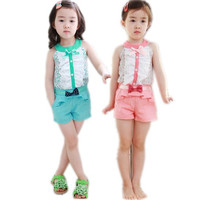 Summer style baby girl kids clothes bow princess clothing set baby girls clothes children clothing fashion 3-11Age 5sets