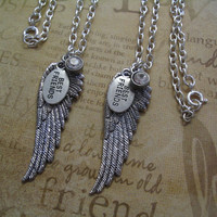 Angel Wings and Best Friends Charm Necklace Set for Sisters or Friends