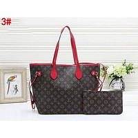 LV Louis Vuitton LV Fashionable Women Shopping Bag Leather Tote Handbag Shoulder Bag Purse Wallet Set Two-Piece 3#