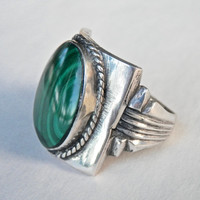 Vintage Mans Ring, Silver Machine Age Ring, Malachite Ring, Size 10 Ring, Deco Jewelry