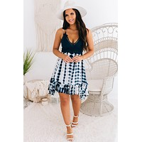 Endless Summer Tie Dye Ruffle Dress (Navy)