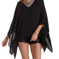 Tie-Neck Oversized Poncho Top by Charlotte Russe