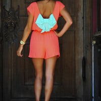I Love You So Romper: Coral/Aqua | Hope's