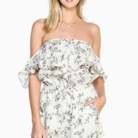 ShopSosie Style : Marlow Floral Romper in Ivory