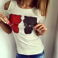 Hot Sale Women's Fashion Pets Butterfly Strapless Short Sleeve T-shirts [9266407116]