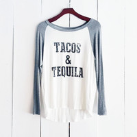 Tacos & Tequila Baseball Tee, Grey and White