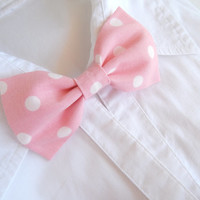 Pink Polka Dot Bow Tie - Bow Tie Brooch - Unisex Bow Tie Pin - Bow Brooch - Wedding Bow Tie Pin - Groom and Best Man's Bow Pin