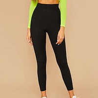 Black Solid Ribbed Knit Skinny Basic Leggings Women Bottoms Active Wear Stretchy Cropped Casual Trousers