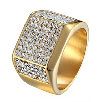14k Gold Tone Hip Hop  Pinky Ring Wedding Engagement Micropave Bling