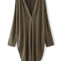 Army Green Deep V-Neckline Asymmetric Loose Fitting Mini Dress