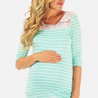 Women's PinkBlush Crochet Yoke Stripe Maternity Top,