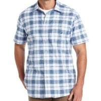 Nautica Men's Short Sleeve Oxford Large Plaid Woven, Noon Blue, Small