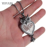 Trendy Simple Love Heart  Rhinestone Alloy Gun Black Owl Pendant Necklace For Women Men Animal Charms Sweater Necklace Jewelry
