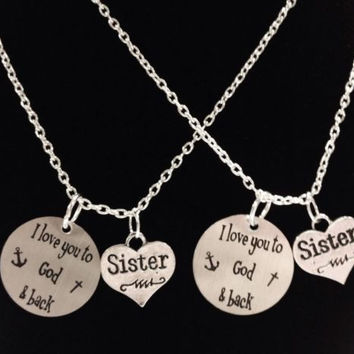 2 Necklaces I Love You To God And Back The Moon And Back Anchor Cross Sister Set