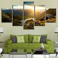 Canvas Painting Picture 5 Panel Sunrise Modern Prints Photo For Living Room Mountain Landscape Modular Wall Art Home Decor
