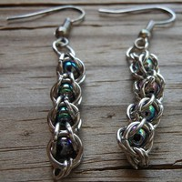 Chainmail Earrings with Rainbow Beads   Cathy Creates - Handmade knit and crochet accessories and apparel