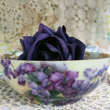 Antique T & V France Limoges Bowl with Violets and Gold Scroll Hand Painted Tressemann and Vogt