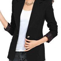 Black Lapel Neck Long Sleeve Polka Dot Cuffs Blazer