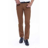 Brown Straight Leg Men Pants