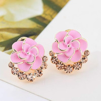 Hot Sale Fashion Women Lady Flower Rose Crystal Rhinestone Stud Earring Elegant Jewelry (With Thanksgiving&Christmas Gift Box)= 1958092100