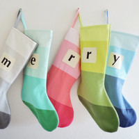 Monogrammed Christmas Stocking Personalized Initial Modern Colorblock Striped Winter Wonderland Boy Girl Silver Gray Teal Pink Blue Green