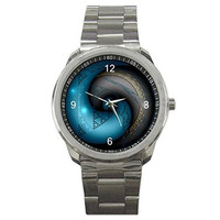 Yin Yang (Blue & Black) on a Mens or Womens Silver Sports Watch