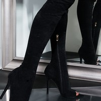 AZALEA WANG Thigh high Stiletto Heel Faux Suede Boot in Black