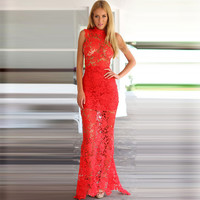Red Floral Lace Cutout Sleeveless Fishtail Maxi Bodycon Dress