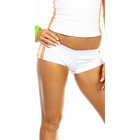 Sexy Neon Trim Balance Work Out Triple Stripe Fitness Full Coverage Shorts - White/Neon Orange