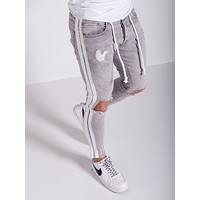 Men's Street Style Ripped Jeans White Side Stripes 4383