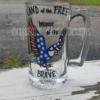 "Patriotic Eagle ""Land of the Free because of the Brave"" hand-painted beer mug"