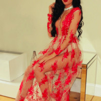Claudia Red and Nude Lace Maxi dress