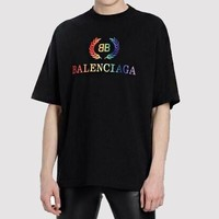 Balenciaga Hot Sale Women Men Casual Rainbow Letter Print Short Sleeve Tunic Top T-Shirt Blouse