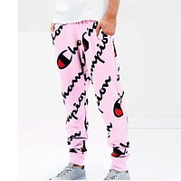 """Champion""Trending Women Men Casual Harem Pants Elastic Feet Pants Cotton Pants - Elastic Waist Pants Pink I"
